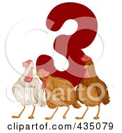Royalty Free RF Clipart Illustration Of Three French Hens With A Red Number Three
