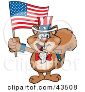 Clipart Illustration Of A Patriotic Uncle Sam Squirrel Waving An American Flag On Independence Day