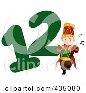 Royalty Free RF Clipart Illustration Of A Drummer Drumming By A Green Number Twelve by BNP Design Studio