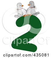 Royalty Free RF Clipart Illustration Of Two Trutle Doves On A Green Number Two by BNP Design Studio