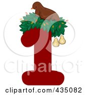 Royalty Free RF Clipart Illustration Of A Partridge In A Pear Tree On A Red Number One by BNP Design Studio