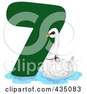 Royalty Free RF Clipart Illustration Of A Swan A Swimming By A Green Number Seven by BNP Design Studio