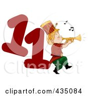 Royalty Free RF Clipart Illustration Of A Piper Piping By A Red Number Eleven by BNP Design Studio