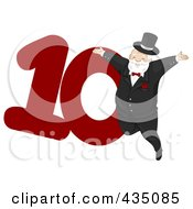 Royalty Free RF Clipart Illustration Of A Lord A Leaping By A Red Number Ten by BNP Design Studio