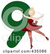 Royalty Free RF Clipart Illustration Of A Lady Dancing By A Green Number Nine by BNP Design Studio