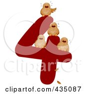 Royalty Free RF Clipart Illustration Of Four Calling Birds On A Red Number Four by BNP Design Studio