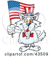 Clipart Illustration Of A Patriotic Uncle Sam Terrier Waving An American Flag On Independence Day