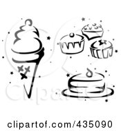 Royalty Free RF Clipart Illustration Of A Digital Collage Of A Black And White Stenciled Ice Cream Cones Cupcakes And Cake