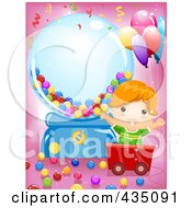 Royalty Free RF Clipart Illustration Of A Happy Boy In A Cart By A Giant Gum Ball Machine On Pink