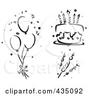 Royalty Free RF Clipart Illustration Of A Digital Collage Of Black And White Stenciled Balloons Cake And Kebabs by BNP Design Studio