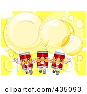 Royalty Free RF Clipart Illustration Of A Party Invitation Of Three Canned Beverages With Yellow Bubbles