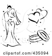 Royalty Free RF Clipart Illustration Of A Digital Collage Of A Black And White Stenciled Wedding Couple Hearts And Rings by BNP Design Studio