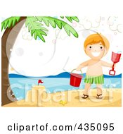 Royalty Free RF Clipart Illustration Of A Summer Boy Making A Sand Castle On A Beach