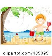 Summer Boy Making A Sand Castle On A Beach