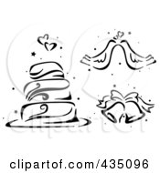 Royalty Free RF Clipart Illustration Of A Digital Collage Of A Black And White Stenciled Wedding Cake Doves And Bells by BNP Design Studio