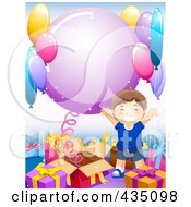 Royalty Free RF Clipart Illustration Of A Birthday Boy Celebrating By Gifts And Party Balloons