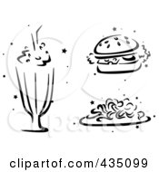 Royalty Free RF Clipart Illustration Of A Digital Collage Of A Black And White Stenciled Milkshake Burger And Spaghetti