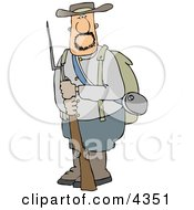 Confederate Army Soldier Holding A Rifle With A Bayonet Clipart