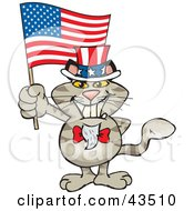 Clipart Illustration Of A Patriotic Uncle Sam Cat Waving An American Flag On Independence Day