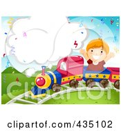 Royalty Free RF Clipart Illustration Of A Birthday Boy Riding On A Train With A Blank Cloud
