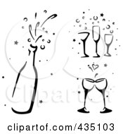 Royalty Free RF Clipart Illustration Of A Digital Collage Of Black And White Stenciled Wedding Champagne