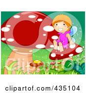 Royalty Free RF Clipart Illustration Of A Fairy Girl Sitting With Mushrooms