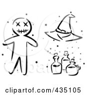 Royalty Free RF Clipart Illustration Of A Digital Collage Of A Black And White Stenciled Halloween Voo Doo Doll Witch Hat And Bottles