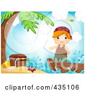 Royalty Free RF Clipart Illustration Of A Pirate Boy Pointing To Treasure On An Island