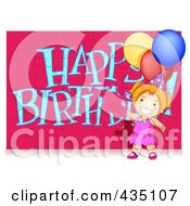 Royalty Free RF Clipart Illustration Of A Birthday Girl Assembling A Happy Birthday Puzzle