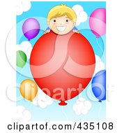 Royalty Free RF Clipart Illustration Of A Birthday Boy On A Floating Balloon In The Sky