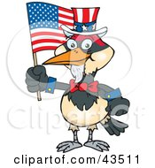 Patriotic Uncle Sam Woodpecker Waving An American Flag On Independence Day