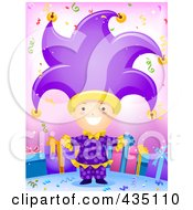 Royalty Free RF Clipart Illustration Of A Birthday Boy In A Jester Costume