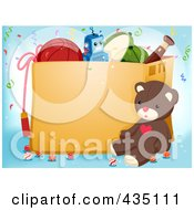 Royalty Free RF Clipart Illustration Of A Teddy Bear Resting By A Box Of Toys