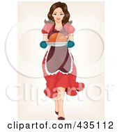 Royalty Free RF Clipart Illustration Of A Retro Pinup Woman Carrying A Roasted Turkey by BNP Design Studio