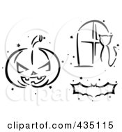 Royalty Free RF Clipart Illustration Of A Digital Collage Of A Black And White Stenciled Halloween Pumpkin Bat And Cat In A Window