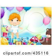 Royalty Free RF Clipart Illustration Of A Little Boy Surrounded By Boys And Balloons With Copyspace