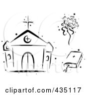 Royalty Free RF Clipart Illustration Of A Digital Collage Of A Black And White Stenciled Church Bouquet And Bible