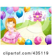 Princess Girl With Party Balloons On A Path Near Her Castle