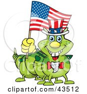 Clipart Illustration Of A Patriotic Uncle Sam Caterpillar Waving An American Flag On Independence Day by Dennis Holmes Designs