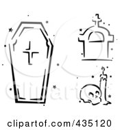 Royalty Free RF Clipart Illustration Of A Digital Collage Of A Black And White Stenciled Coffin Tombstone And Skull