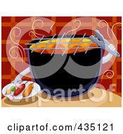 Royalty Free RF Clipart Illustration Of A Barbecue Serving Kebabs by BNP Design Studio