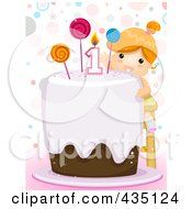 Royalty Free RF Clipart Illustration Of A First Birthday Girl Reaching Towards The Candle On Her Cake