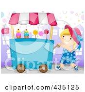 Candy Vendor Girl Pushing A Cart