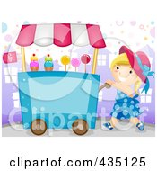 Royalty Free RF Clipart Illustration Of A Candy Vendor Girl Pushing A Cart
