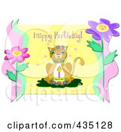 Happy Birthday Greeting Over A Cat With A Cake And Candle Over Yellow