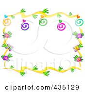Floral Vine Border With Swirls Hearts And Bugs