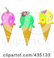 Royalty Free RF Clipart Illustration Of A Digital Collage Of Three Ice Cream Cones by bpearth