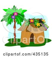 Royalty Free RF Clipart Illustration Of A Toucan On A Tropical Hut By A Palm Tree Over Blue by bpearth