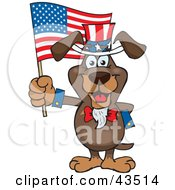 Clipart Illustration Of A Patriotic Uncle Sam Dachshund Waving An American Flag On Independence Day