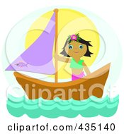 Royalty Free RF Clipart Illustration Of A Tropical Girl On A Sail Boat Over Blue